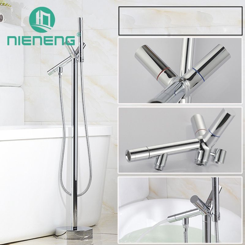 Nieneng Bathtub Faucet Bathroom Floor Faucet Double Handle Hot And Cold Freestanding Modern Bath Tub Shower Sets ICD60636