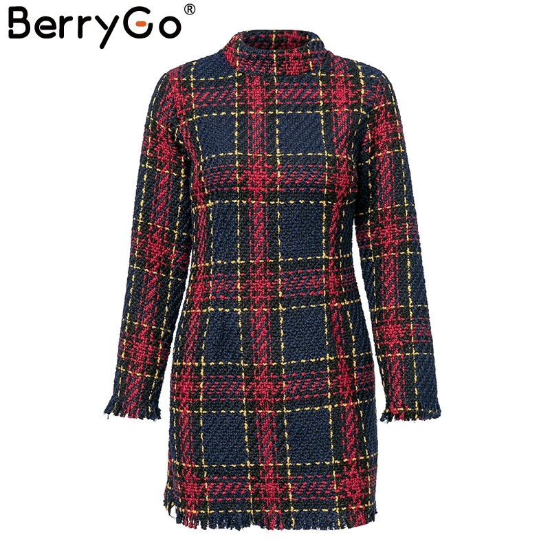 BerryGo Elegant Office lady plaid winter dress 18 Long sleeve stand collar thick warm tassel dress Fashion slim female vestido 6