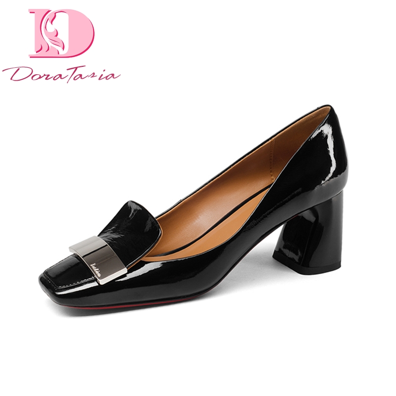 Doratasia Brand New Genuine Leather Square Toe Square High Heels slip on Shoes Woman Fashion Spring
