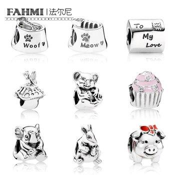 94b6cfc9d3d0 FAHMI 100% auténtica plata esterlina 925 Animal flor cerdo cuentas claro CZ  Charm bead Fit pulsera DIY brazalete de regalo joyería