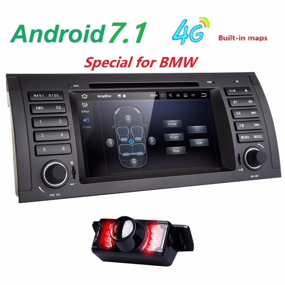 Android 7.1! 7 Inch In Dash Car DVD Player Multimedia For BMW/E39/X5/M5/E38/E53 With 2G RAM Canbus Wifi GPS Navigation Radio CAM