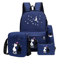 4Pcs Set Women Backpack Schoolbag Korean Rucksack Cut School Bags For Teenager Girls Student Bag Set
