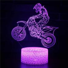 3D Motocross Bike Night Remote Touch Control Illusion Table Lamps 7 Colors USB Change Desk Lamp Lamp Night light Kids's Gift