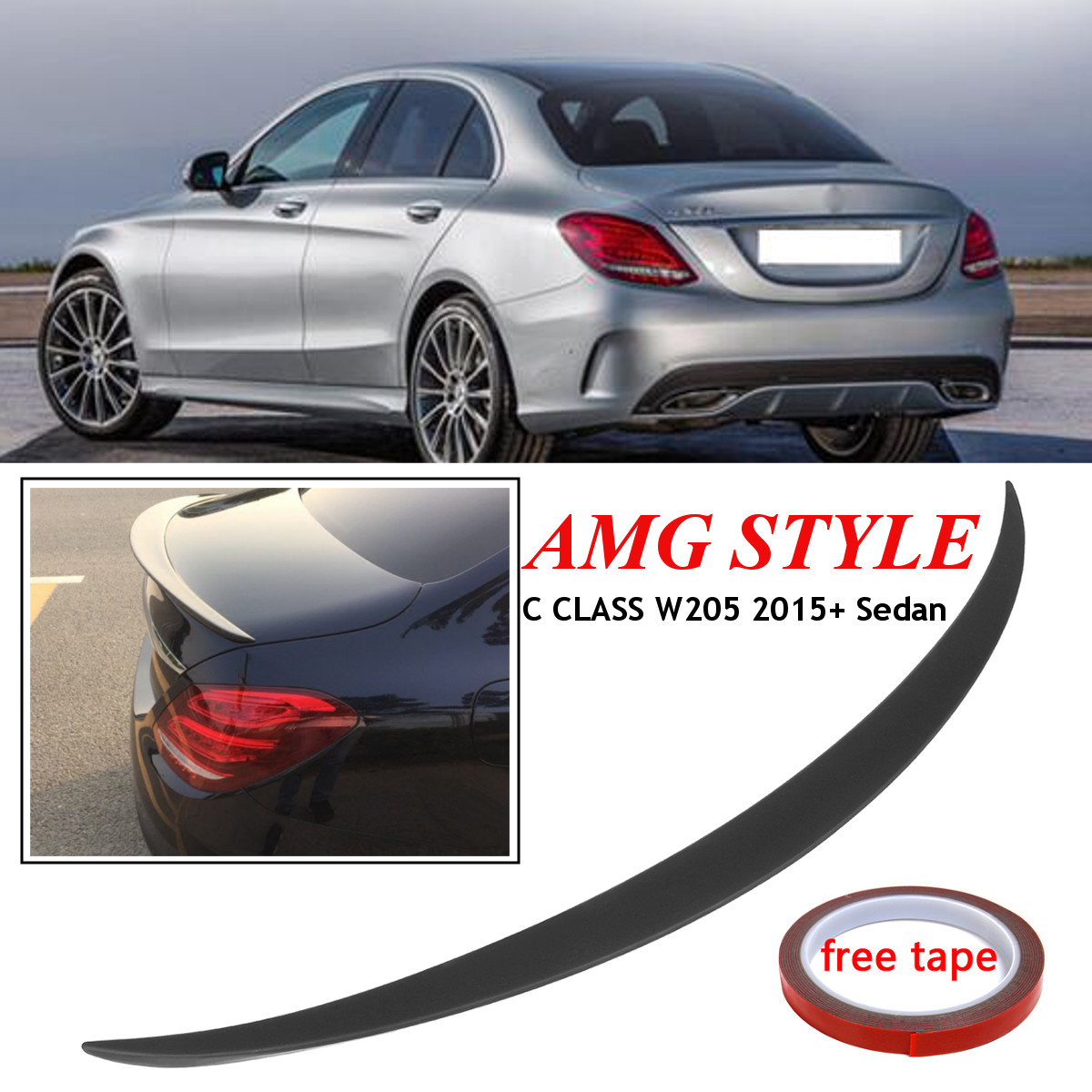 High quality Car Styling ABS Rear Trunk Spoiler Wing For MERCEDES for BENZ C CLASS Sedan W205 for AMG 2015+ New Spoiler for Benz все цены