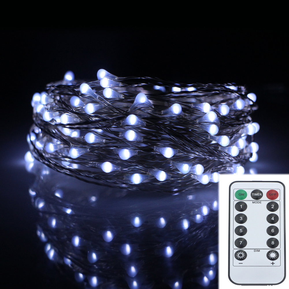 33ft 10m 100led 8modes Silver Wire Battery Operated Led