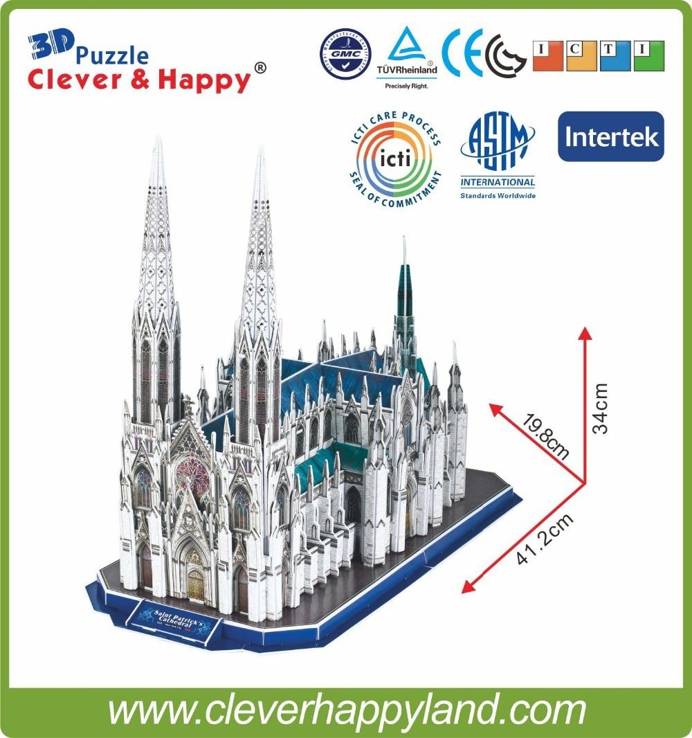 117pcs 3D papir puslespill Saint patrick katedral, puslespill - Puslespill - Bilde 3