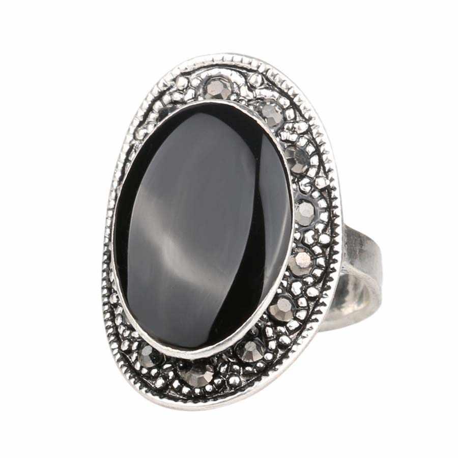 ร้อนราคาถูก2015วินเทจรีสีดำและสีเขียวเคลือบแหวนสำหรับผู้หญิงชุบเงินคริสตัลของขวัญจัดส่งฟรี