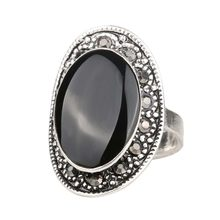 HOT Cheap 2015 Vintage Jewelry Oval Black And Green Enamel Ring For Women Silver Plated Crystal Gift Free Shipping(China)