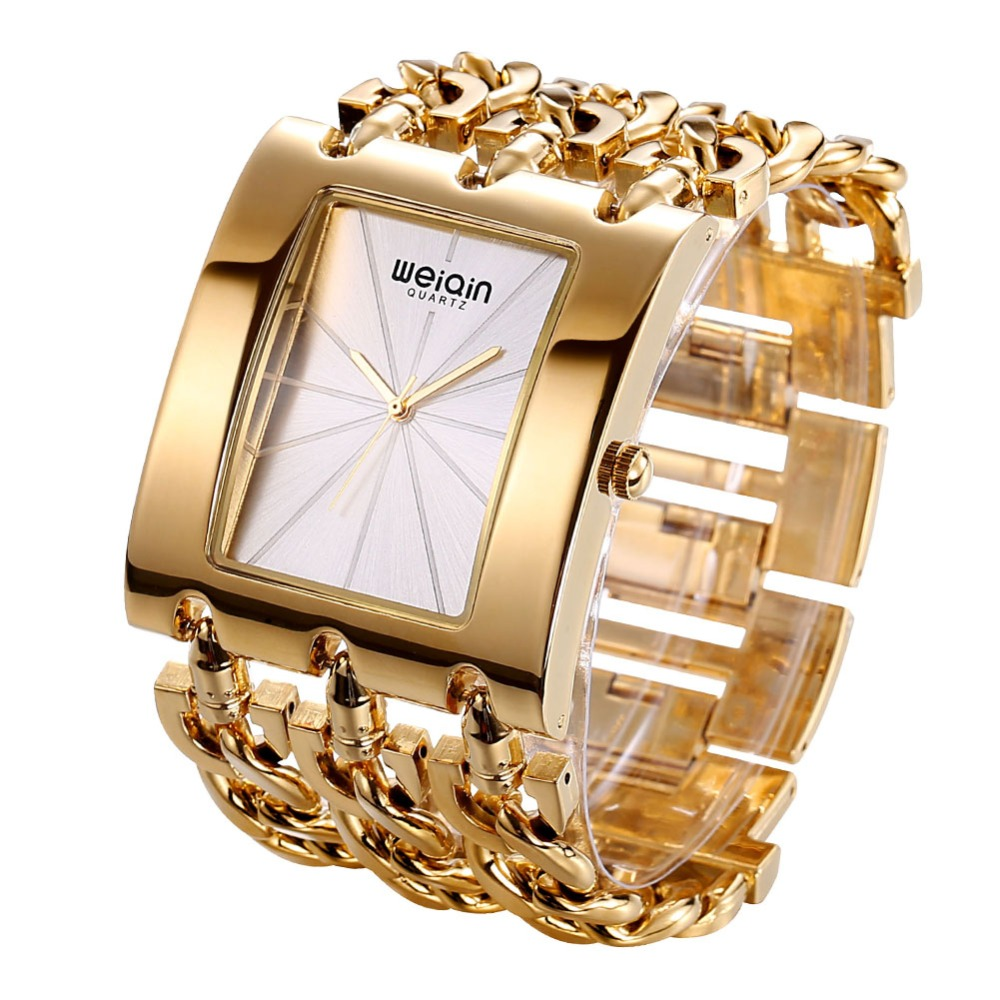 Luxury weiqin brand gold ladies bracelet watch waterproof fashion bangle dress wristwatch for Ladies bangle watch
