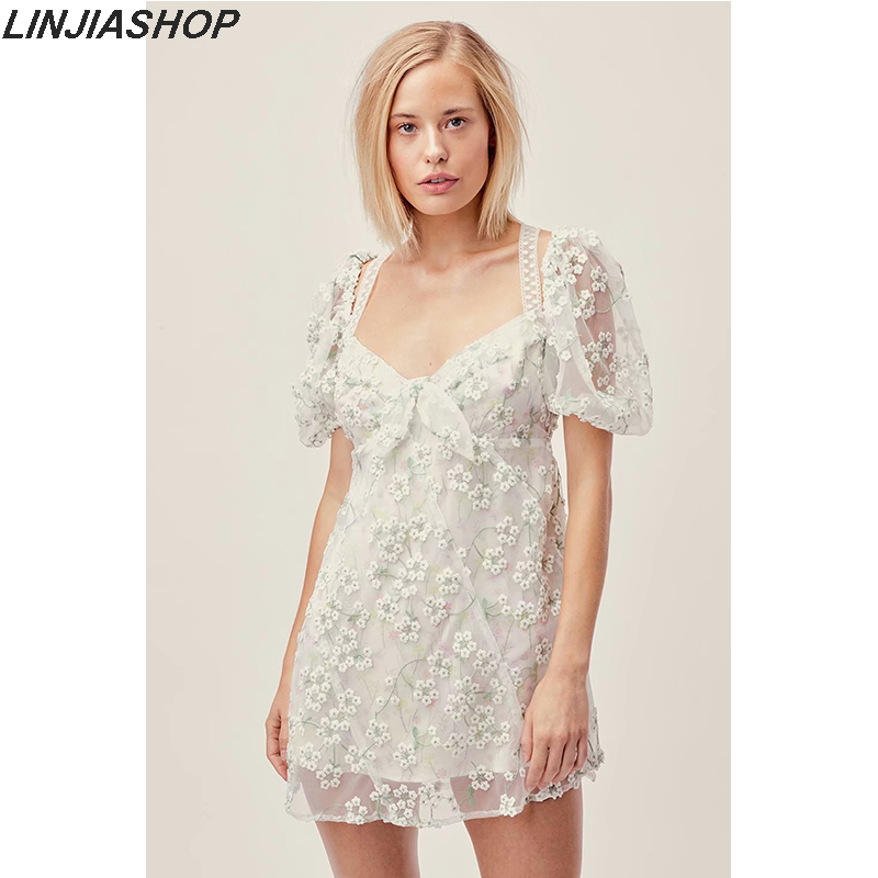 Forlove Summer Women's Eclair Mini Dress With 3D Embroidery And Straps A Line Short Sleeve Slim Hollow Out Dress For Girls