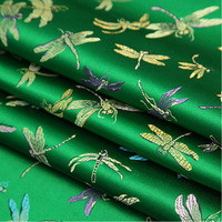 Width 0 9m Length 1m Dragonfly Pattern Woven Brocade Fabric For Clothes And Furniture Upholstery Cloth