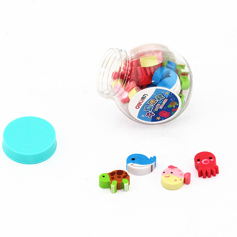 20pcs/pack Erasers Assorted Fruits And Oceanic Animals Rubber Eraser With Box, Perfect For Girl And Boys Gift