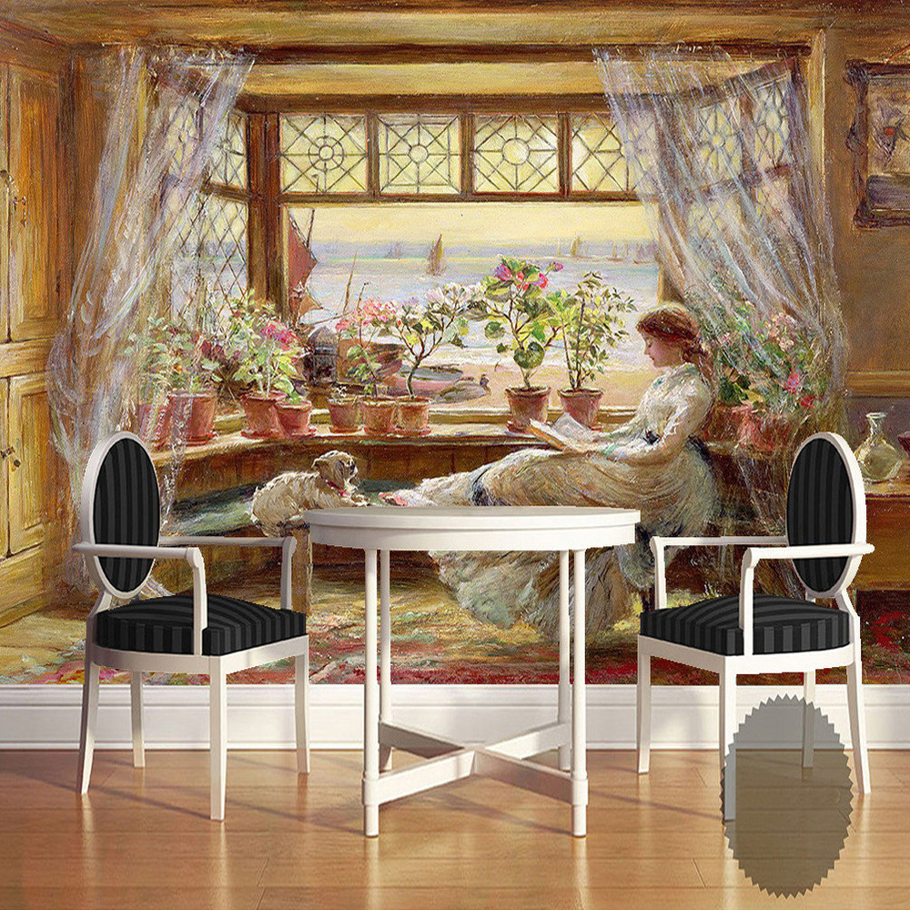 Custom Mural Wallpaper European Classical Figures Hand Painted Canvas Oil Paintings White Curtain Pots Living Room Art Wallpaper iarts aha072962 hand painted thick texture of knife painting trees oil painting red 60 x 40cm