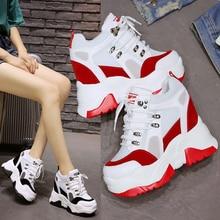 Spring Women Sneakers 9cm Ultra High Heels Chunky Sneakers Casual Elevator Shoes Summer Mesh Platform Wedges Ladies Trainers