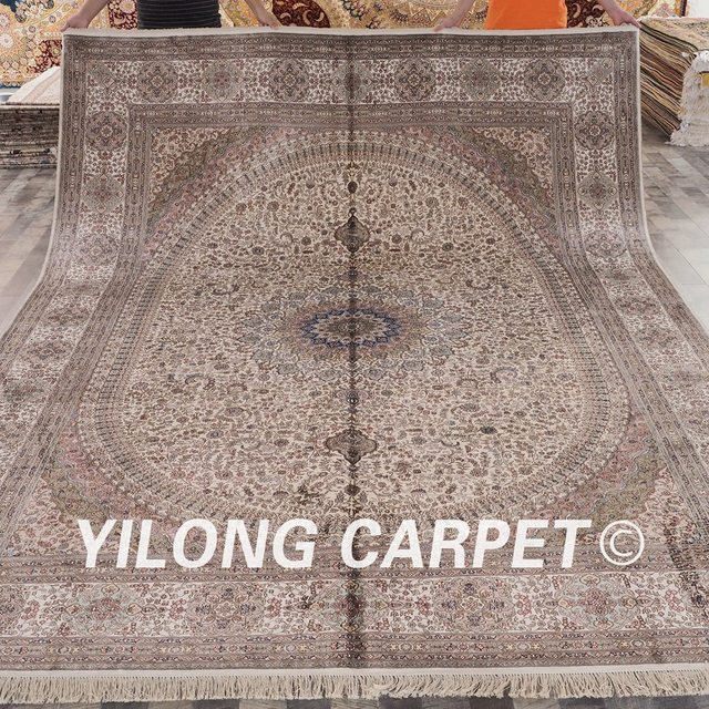 Yilong 9u0027x12 U0027tapis Traditionnel Persan Noué à La Main Salon Tapis De Soie