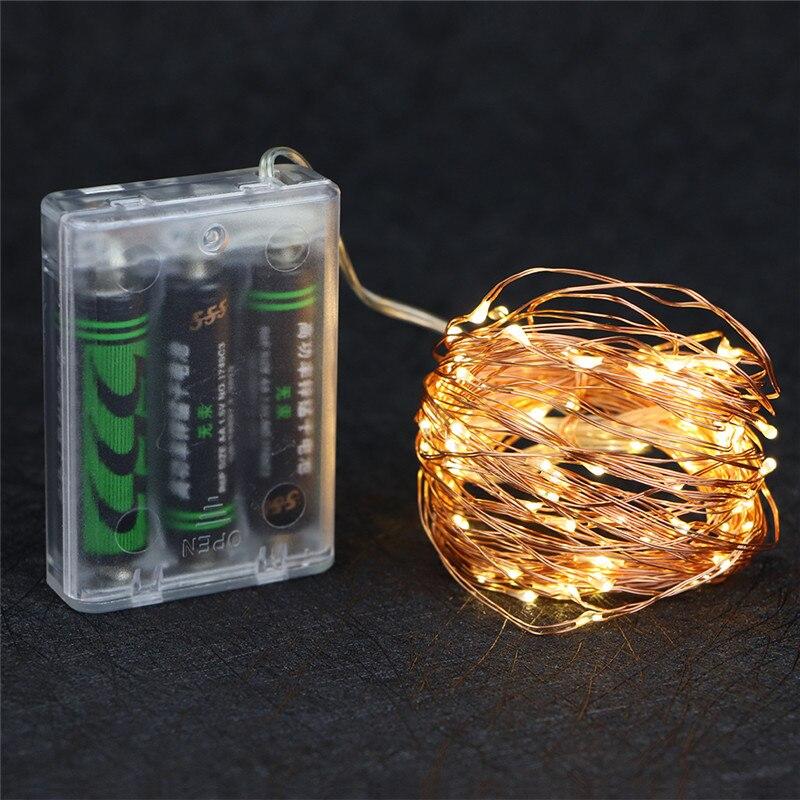 Siccsaee 2 M 5 M 10 M 100 Cordas Led Fio De Cobre 3xaa Bateria Operado Natal Festa De Casamento Decoração Led String Luzes De Fadas