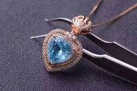 Природный Голубой топаз кулон S925 серебро Природный камень кулон Цепочки и ожерелья Модный Сердце элегантный корона женщин Нарядная, для де