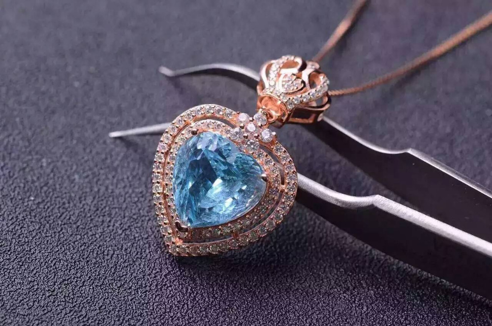 natural blue topaz pendant S925 silver Natural gemstone Pendant Necklace trendy heart Elegant crown women girl