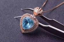 Естественный голубой топаз кулон S925 серебро Природных драгоценных камней Ожерелье модный сердце Элегантный корона девушки женщин партии ювелирных изделий