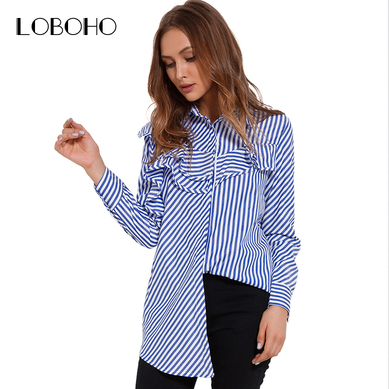 New fashion women tops blouses autumn 2017 casual blue and for Blue and white long sleeve shirt