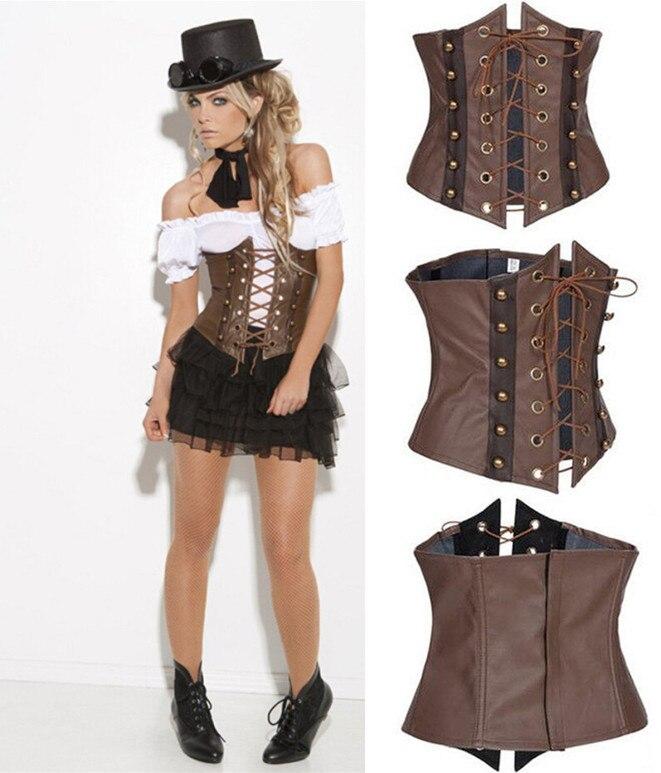 Корсет из искусственной кожи в стиле стимпанк, корсеты для женщин|overbust corset|corsets and bustierssteampunk corset | АлиЭкспресс