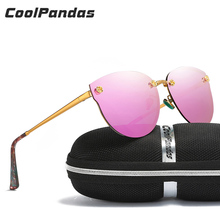 2018 Luxury Brand Designer Women Polarized Sunglasses Classic Pink Cateye Mirror Glasses Steampunk for Ladies rays Goggles UV400