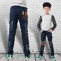 Impresso joelho Jeans novidade elástico criança calças quentes para meninos novo calças Jeans Skinny Stonewashed impresso joelho