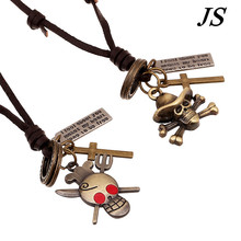 JS Charm One Piece Necklace Leather Collar Men Gothic Antique Bronze Skeletons Pendant Red Crystal Eye Skull Jewelry LB050