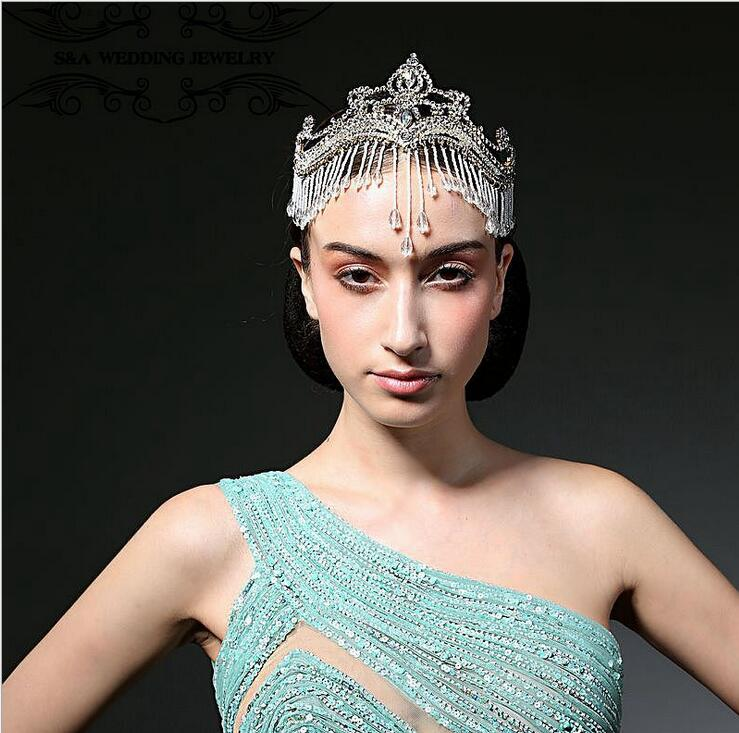 Europe exaggerated Queen Princess full rhinestone crown big gem headband Wedding bridal hair accessories women crystal hairband недорого