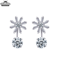 Hot Sell Fashion Charm Personality 925 Steling Silver Crystal Earrings Jewelry Round Zirconia Design Earrings For Women