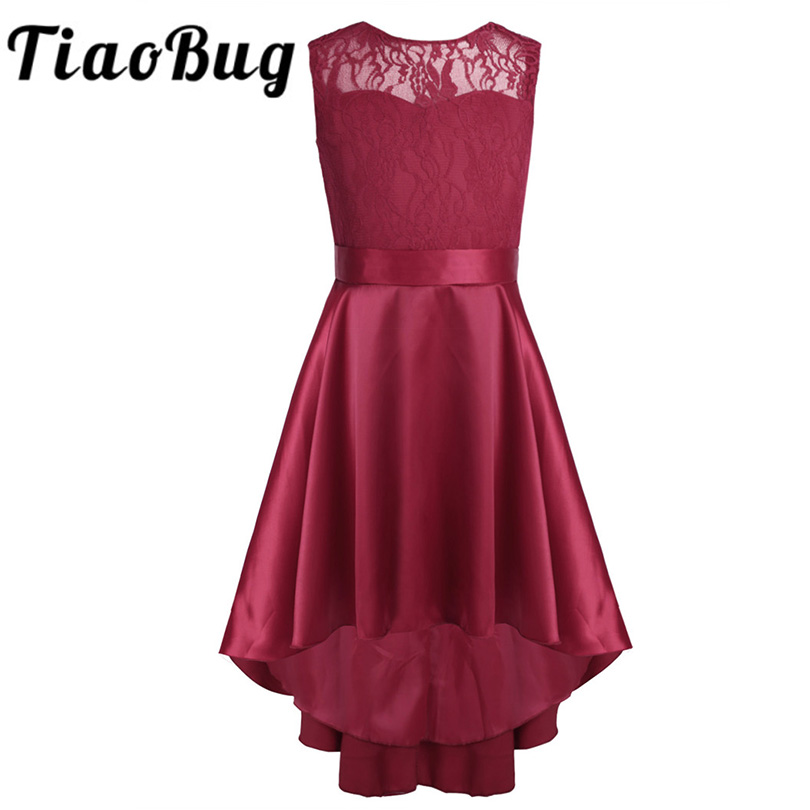 New Fashion Girls Lace High-low Hem V back Flower Girl Dress Sleeveless A-Line Princess Girl Pageant Wedding Party Dress SZ 4-14 new high quality fashion excellent girl party dress with big lace bow color purple princess dresses for wedding and birthday