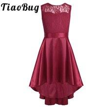 Yeni moda kız dantel yüksek düşük Hem V geri çiçek kız elbise kolsuz A Line prenses kız Pageant düğün parti elbise SZ 4 14