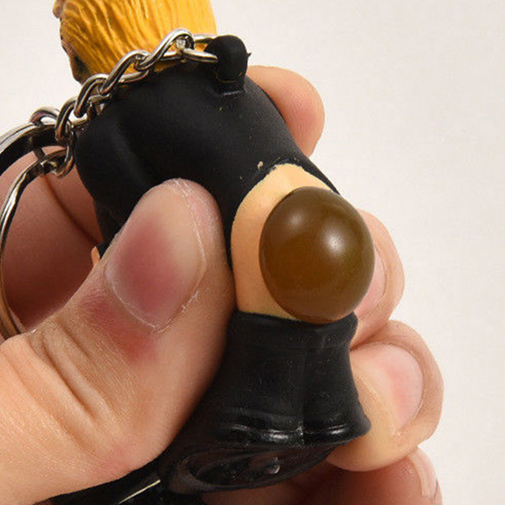 Poop Donald Trump Keyring <font><b>Funny</b></font> Simulation Doll Car Spoof Bag Squeeze Pendant Toy Keychain President image