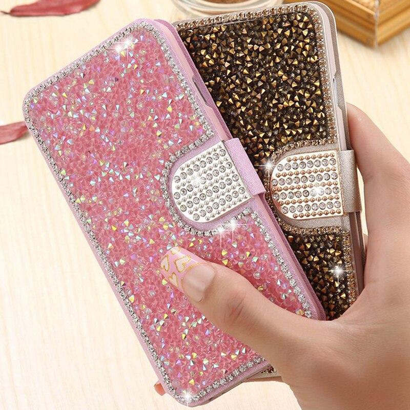 Étui en cuir strass en soie diamant Flip couverture de téléphone Bling cristal support coque Capa Fundas pour Samsung Galaxy S5 S7 S6 Edge