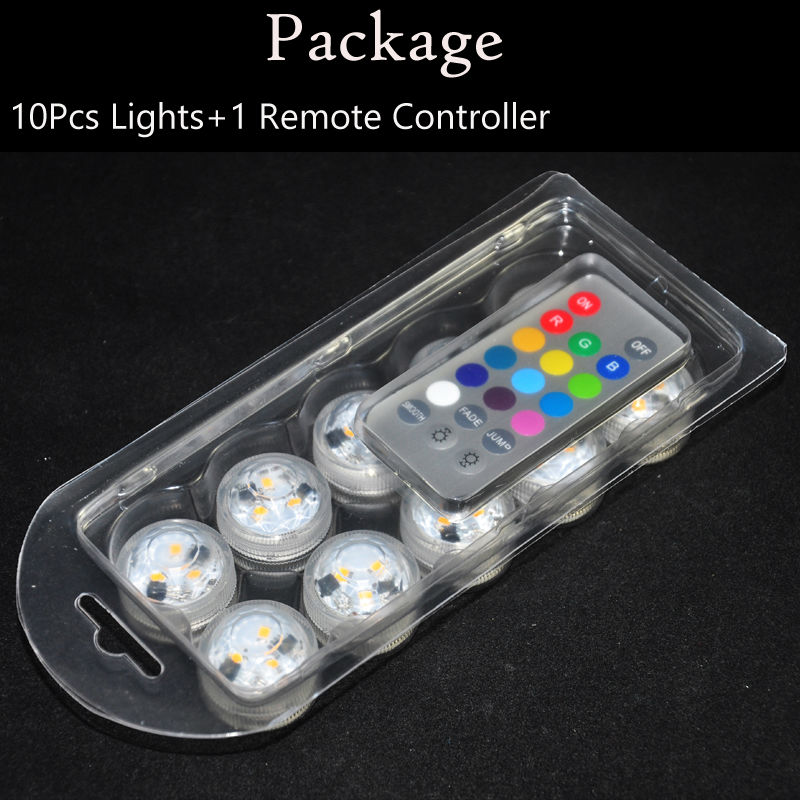 10pcs*CR2032 Battery Operated 3CM Round Super Bright RGB Multicolors LED Submersible LED Floralyte Light With Remote