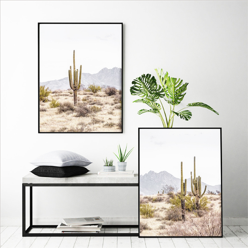 Desert Cactus Posters Print Boho Landscape Wall Art Canvas Painting Saguaro Cactus Picture For Living Room Home Decoration