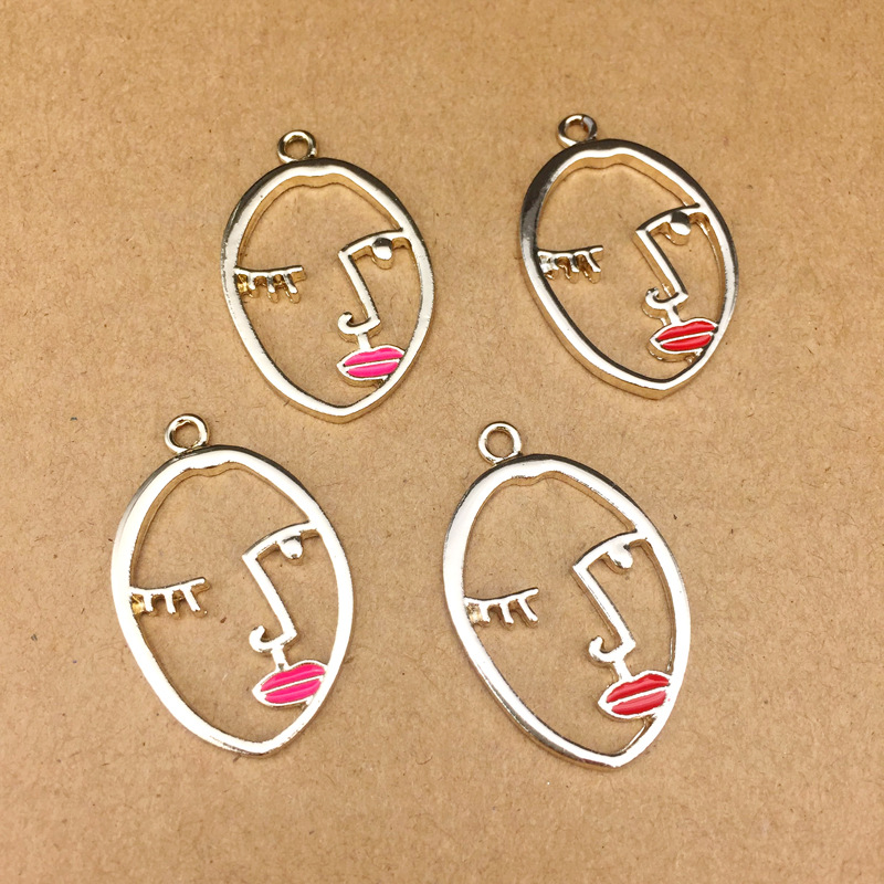 15 pcs Red Enamel Plated Alloy Lip Shaped Charms Pendants Jewelry Accessories