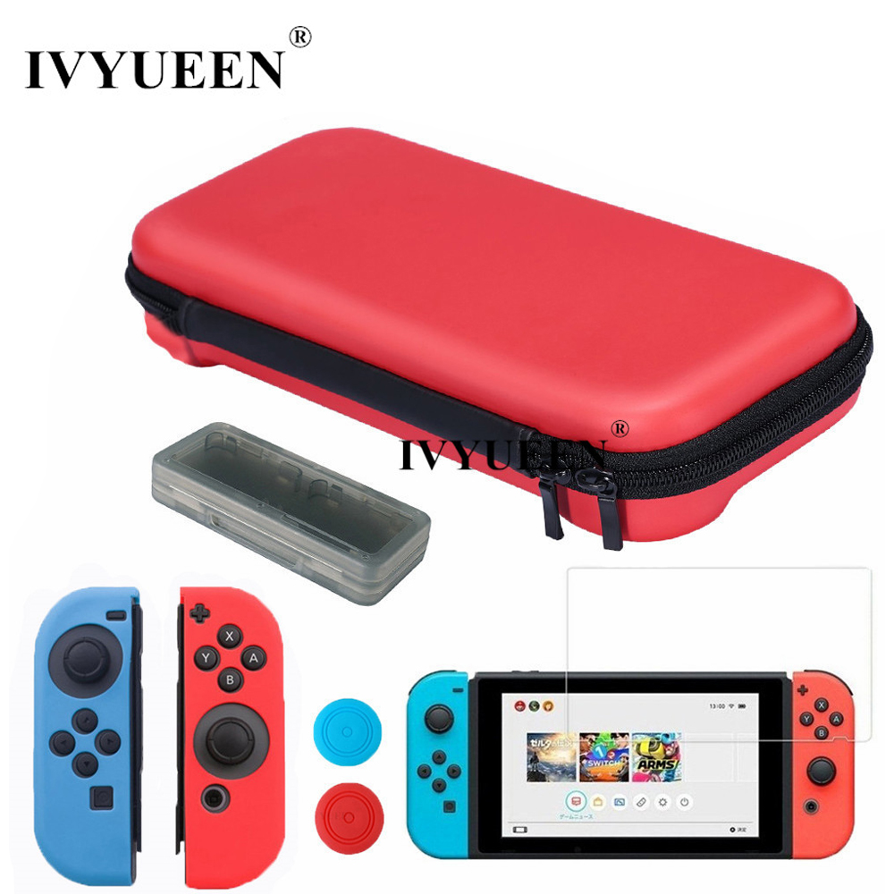 все цены на IVYUEEN 7 in 1 EVA Protective Hard Storage Bag for Nintend Switch NS Console Film Silicone Case Grips for Jon Con Blue / Red