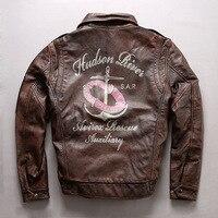 Men Retro Vintage Brown Cow Genuine Leather Jacket Fashion Pattern Short Slim Fit Jacket Pilot Winter Coats