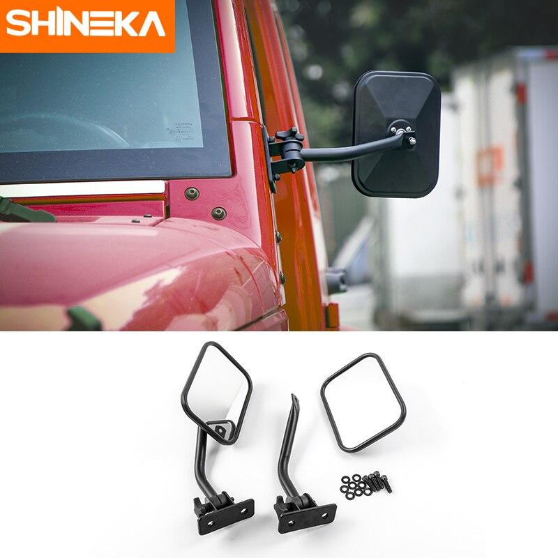 SHINEKA Car Exterior Side Door Rear View Mirrors For Jeep Wrangler JK TJ CJ LJ Adjustable Angle Lens Blind Spot
