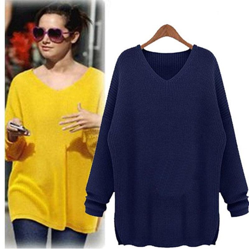 Online Shop Oversized Yellow Crochet Sweater Women Navy Blue solid ...