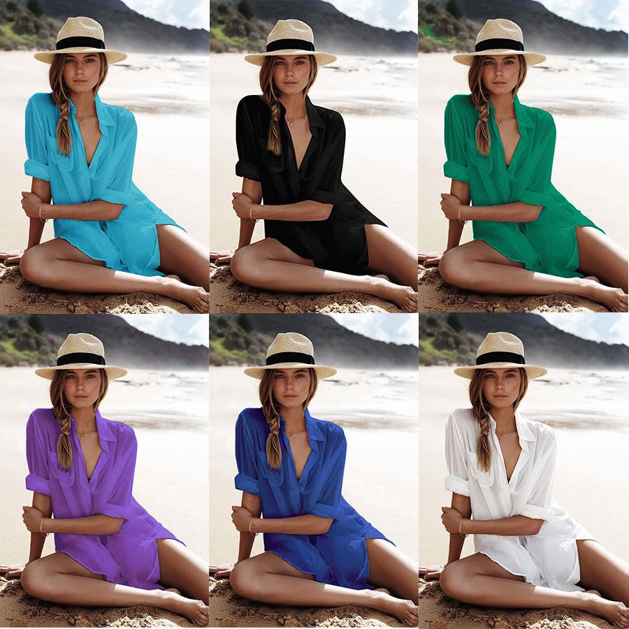 2019 Bikini Cover Up Cotton Kaftan Swimsuit Beach Wear Women Summer Ladies Cover-Ups Bathing Suit Shirt Bikini Beach Derss Tunic