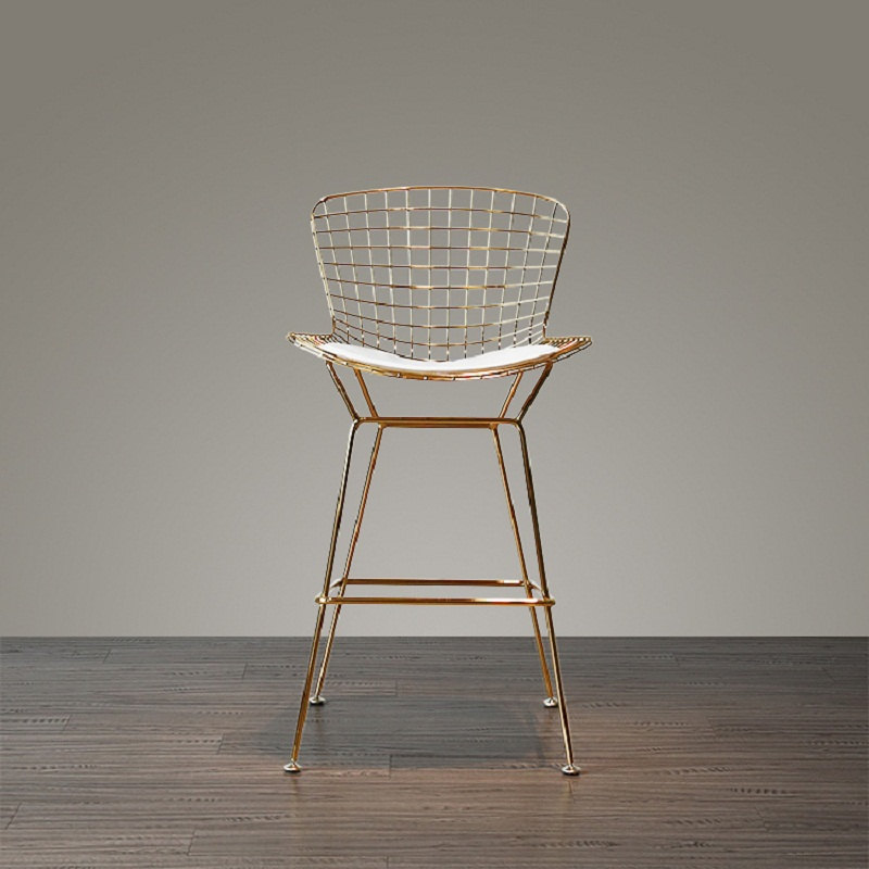 U-BEST Bar Set Seat Height 75cm Modern Chromed Golden Design Bar Stool Barstool Bar Chair Metal Wire Loft Counter Stool