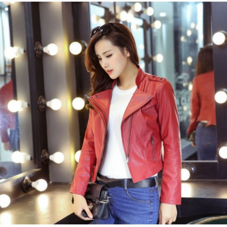 High Quality Autumn Winter V-Neck   Leather   Overcoats Zippers Long Sleeve Slim Jacket Women Faux Pu Short Outerwear