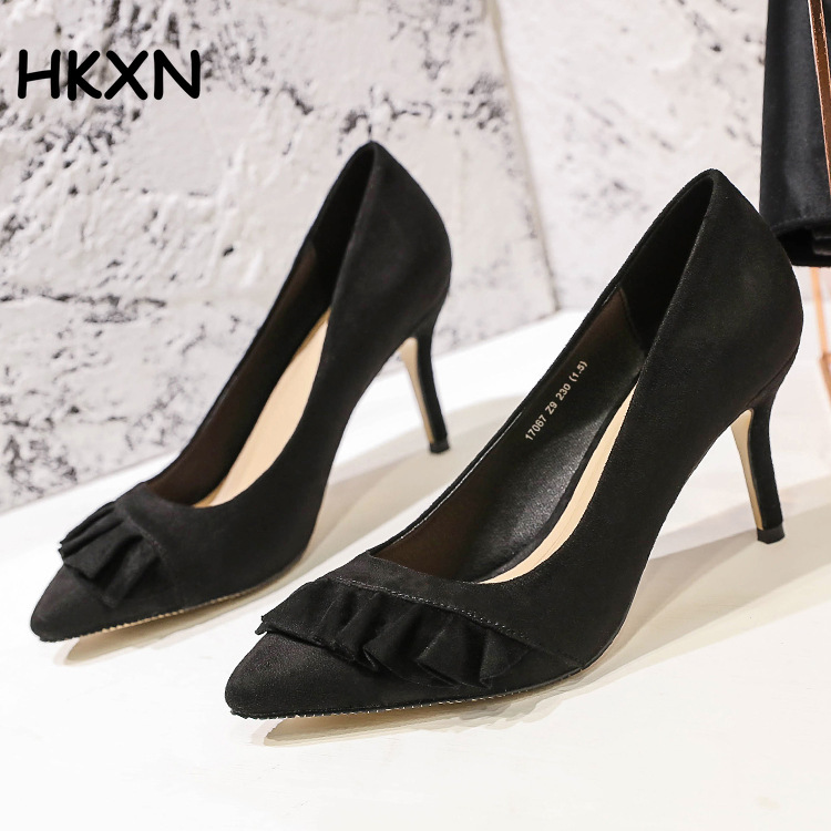Elegant Pumps Weeding-Shoes Flock Pointed-Toe High-Heels Fashion Work 11CM Career Woman