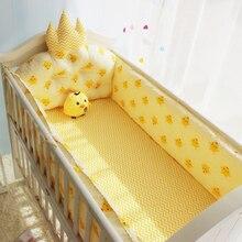 Cute Cartoon Chicken Pattern Infant Baby Crib Bedding Set Boys Girls Bedding Set Detachable Baby Crib Bumper Children Bed Linen