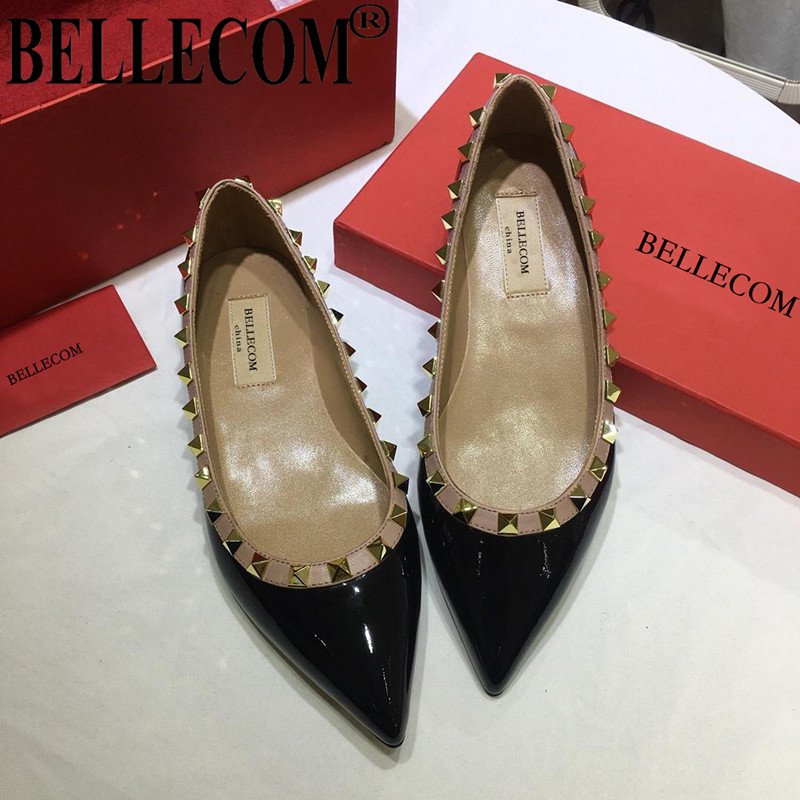 BELLECOM Spring and summer new rivet pointed patent leather women's shoes shallow mouth large size flat with pointed shoes s