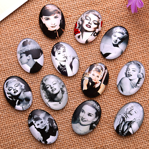 18x25mm Cartoo Girl Oval Glass Cabochon Dome Jewelry Finding Fashion Summer Cameo Pendant Settings 20pcs/lot K04800
