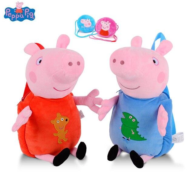 Peppa Pig George Plush Toys Backpack School Bag Kids Girls Boys