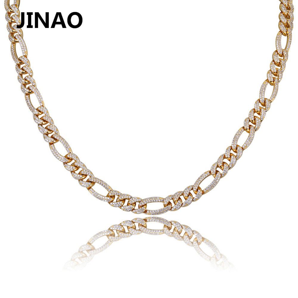 Iced Out Fashion Gold Silver Color Curb Chain Necklaces Personality Hip Hop Punk Charms For Men